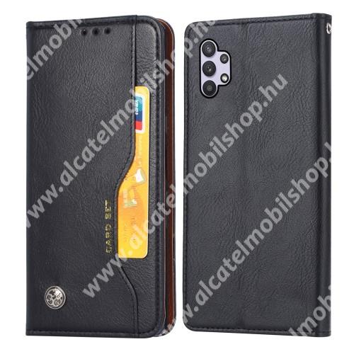 Notesz tok / flip tok - FEKETE - asztali tartó funkciós, oldalra nyíló, rejtett mágneses záródás, bankkártya tartó zsebekkel, szilikon belső - SAMSUNG Galaxy A32 5G (SM-A326B)