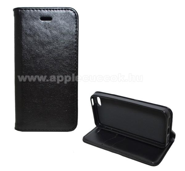APPLE IPhone 5SNotesz tok / flip tok - FEKETE - asztali tartó funkciós, oldalra nyíló, bankkártyatartó zseb, szilikon belső - Apple IPhone SE / Apple IPhone 5 / Apple IPhone 5S