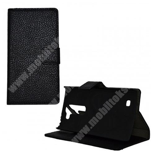 LG G4c (H525N) Notesz tok / flip tok - FEKETE - asztali tartó funkciós, oldalra nyíló, rejtett mágneses záródás - LG G4c