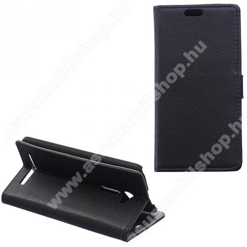 Notesz tok / flip tok - FEKETE - asztali tartó funkciós, oldalra nyíló, rejtett mágneses záródás, bankkártyatartó zseb - ASUS Zenfone 2 (ZE500CL)