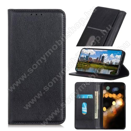 Notesz tok / flip tok - FEKETE - hasított bőr, asztali tartó funkciós, oldalra nyíló, rejtett mágneses záródás, bankkártya tartó zseb, szilikon belső - SONY Xperia 5 II (2020)