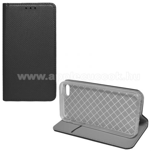 APPLE IPhone 5SNotesz tok / flip tok - FEKETE - rombusz mintás, rejtett mágneses záródás, asztali tartó funkciós, oldalra nyíló, bankkártya tartó zseb, szilikon belső - Apple IPhone 5 / Apple IPhone 5S