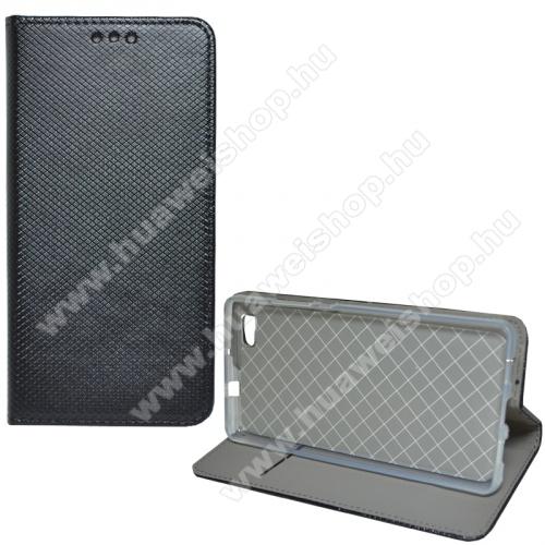 Notesz tok / flip tok - FEKETE - rombusz mintás, rejtett mágneses záródás, asztali tartó funkciós, oldalra nyíló, bankkártya tartó zseb, szilikon belső - HUAWEI P8 lite