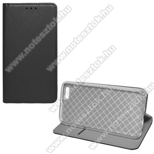 APPLE iPhone 6Notesz tok / flip tok - FEKETE - rombusz mintás, rejtett mágneses záródás, asztali tartó funkciós, oldalra nyíló, bankkártya tartó zseb, szilikon belső - APPLE iPhone 6