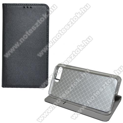 Notesz tok / flip tok - FEKETE - rombusz mintás, rejtett mágneses záródás, asztali tartó funkciós, oldalra nyíló, bankkártya tartó zseb, szilikon belső - APPLE iPhone 7 Plus (5.5) / APPLE iPhone 8 Plus (5.5)