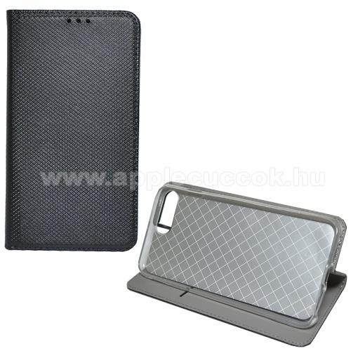 Notesz tok / flip tok - FEKETE - rombusz mintás, asztali tartó funkciós, oldalra nyíló, bankkártya tartó zseb, szilikon belső - APPLE iPhone 7 Plus (5.5) / APPLE iPhone 8 Plus (5.5)