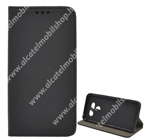 Notesz tok / flip tok - FEKETE - rombusz mintás, asztali tartó funkciós, oldalra nyíló, bankkártya tartó zseb, szilikon belső - LG Q60