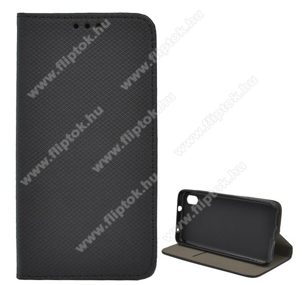 Notesz tok / flip tok - FEKETE - rombusz mintás, asztali tartó funkciós, oldalra nyíló, bankkártya tartó zseb, szilikon belső - Xiaomi Redmi 7A