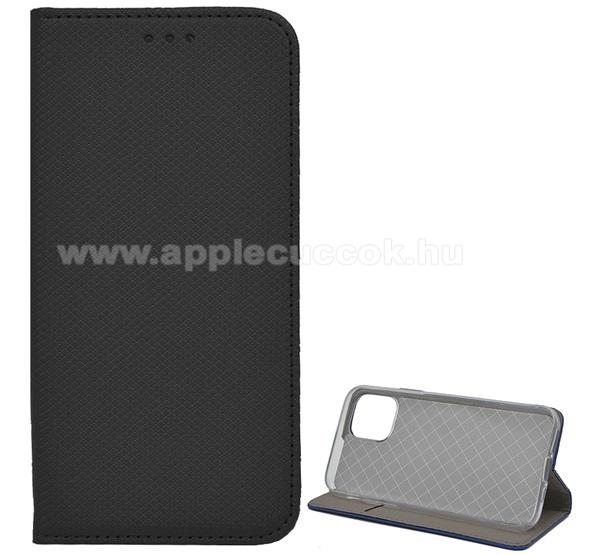 Notesz tok / flip tok - FEKETE - rombusz mintás, rejtett mágneses záródás, asztali tartó funkciós, oldalra nyíló, bankkártya tartó zseb, szilikon belső - APPLE iPhone 11 Pro