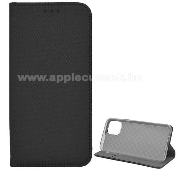Notesz tok / flip tok - FEKETE - rombusz mintás, rejtett mágneses záródás, asztali tartó funkciós, oldalra nyíló, bankkártya tartó zseb, szilikon belső - APPLE iPhone 11