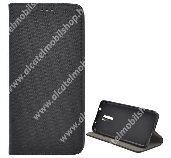 Notesz tok / flip tok - FEKETE - rombusz mintás, rejtett mágneses záródás, asztali tartó funkciós, oldalra nyíló, bankkártya tartó zseb, szilikon belső - NOKIA 3.2