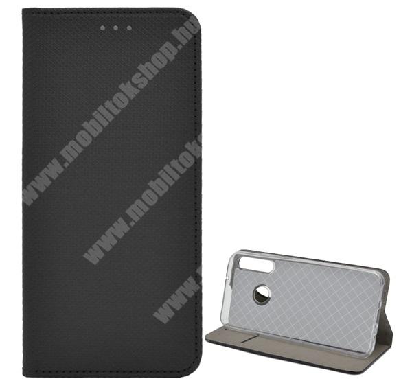 Notesz tok / flip tok - FEKETE - rombusz mintás, rejtett mágneses záródás, asztali tartó funkciós, oldalra nyíló, bankkártya tartó zseb, szilikon belső - HUAWEI P40 Lite E / HUAWEI Y7p / Honor 9C