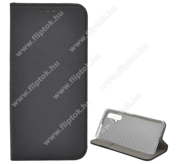 Notesz tok / flip tok - FEKETE - rombusz mintás, rejtett mágneses záródás, asztali tartó funkciós, oldalra nyíló, bankkártya tartó zseb, szilikon belső - HUAWEI Honor 20 / HUAWEI Honor 20S / HUAWEI nova 5T