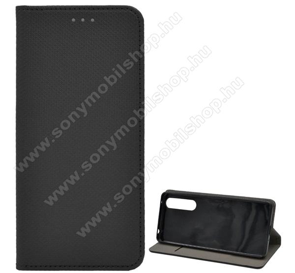 Notesz tok / flip tok - FEKETE - rombusz mintás, rejtett mágneses záródás, asztali tartó funkciós, oldalra nyíló, bankkártya tartó zseb, szilikon belső - SONY Xperia 1 II