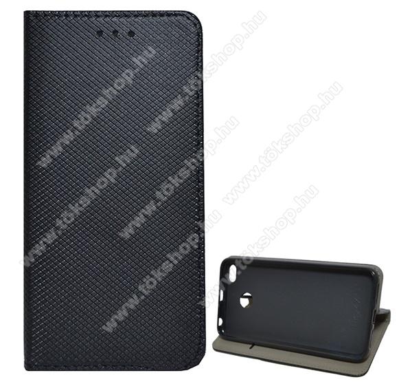 Notesz tok / flip tok - FEKETE - rombusz mintás, rejtett mágneses záródás, asztali tartó funkciós, oldalra nyíló, bankkártya tartó zseb, szilikon belső - Xiaomi Redmi 4X