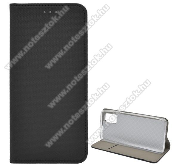 Notesz tok / flip tok - FEKETE - rombusz mintás, rejtett mágneses záródás, asztali tartó funkciós, oldalra nyíló, bankkártya tartó zseb, szilikon belső - SAMSUNG Galaxy M51 (SM-M515F)