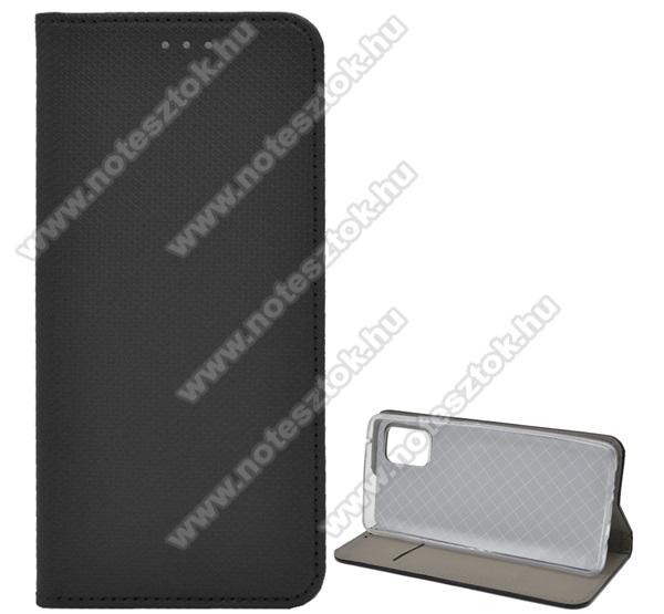 Notesz tok / flip tok - FEKETE - rombusz mintás, rejtett mágneses záródás, asztali tartó funkciós, oldalra nyíló, bankkártya tartó zseb, szilikon belső - SAMSUNG Galaxy A51 5G (SM-A516F)