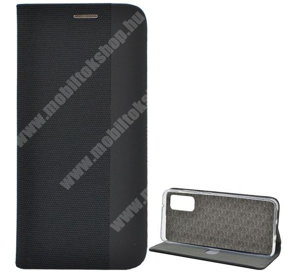 Notesz tok / flip tok - FEKETE - textil hatás, asztali tartó funkciós, oldalra nyíló, bankkártya tartó zseb, szilikon belső - SAMSUNG SM-G980F Galaxy S20 / SAMSUNG SM-G981F Galaxy S20 5G