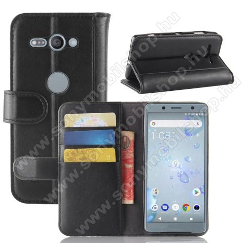 Notesz tok / flip tok - FEKETE - valódi bőr, asztali tartó funkciós, oldalra nyíló, rejtett mágneses záródás, bankkártyatartó zseb, szilikon belső - SONY Xperia XZ2 Compact (2018)