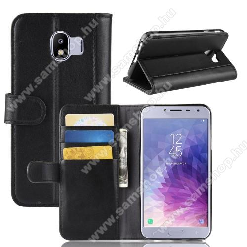 Notesz tok / flip tok - FEKETE - valódi bőr, asztali tartó funkciós, oldalra nyíló, rejtett mágneses záródás, bankkártyatartó zseb, szilikon belső - SAMSUNG SM-J400F Galaxy J4 (2018)