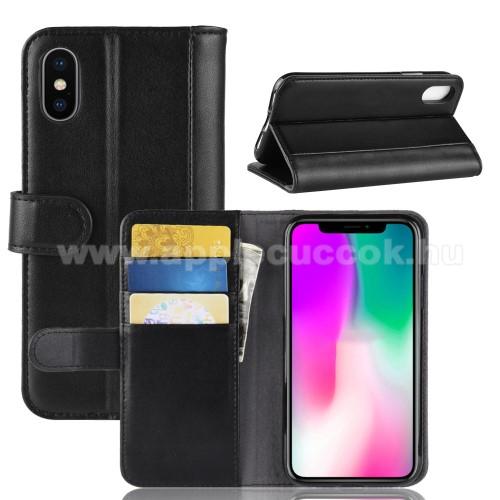 Notesz tok / flip tok - FEKETE - valódi bőr, asztali tartó funkciós, oldalra nyíló, rejtett mágneses záródás, bankkártyatartó zseb, szilikon belső - APPLE iPhone Xr