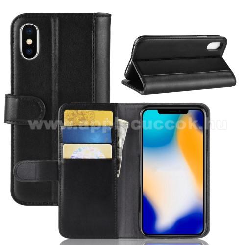 Notesz tok / flip tok - FEKETE - valódi bőr, asztali tartó funkciós, oldalra nyíló, rejtett mágneses záródás, bankkártyatartó zseb, szilikon belső - APPLE iPhone XS Max