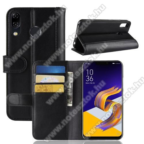 Notesz tok / flip tok - FEKETE - valódi bőr, asztali tartó funkciós, oldalra nyíló, rejtett mágneses záródás, bankkártyatartó zseb, szilikon belső - ASUS Zenfone 5z (ZS620KL) (2018) / ASUS Zenfone 5 (ZE620KL) (2018)