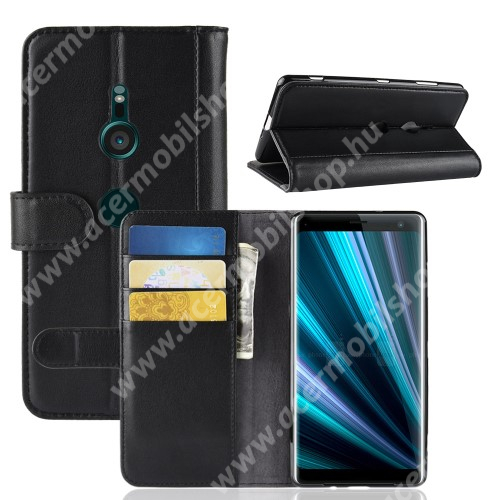 Notesz tok / flip tok - FEKETE - valódi bőr, asztali tartó funkciós, oldalra nyíló, rejtett mágneses záródás, bankkártyatartó zseb, szilikon belső - Sony Xperia XZ3