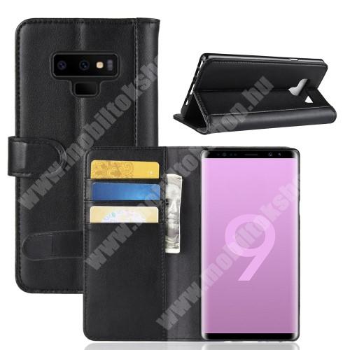 Notesz tok / flip tok - FEKETE - valódi bőr, asztali tartó funkciós, oldalra nyíló, rejtett mágneses záródás, bankkártya tartó zsebekkel, szilikon belső - SAMSUNG Galaxy Note9
