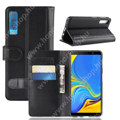 Notesz tok / flip tok - FEKETE - valódi bőr, asztali tartó funkciós, oldalra nyíló, rejtett mágneses záródás, bankkártya tartó zsebekkel, szilikon belső - SAMSUNG SM-A750F Galaxy A7 (2018)