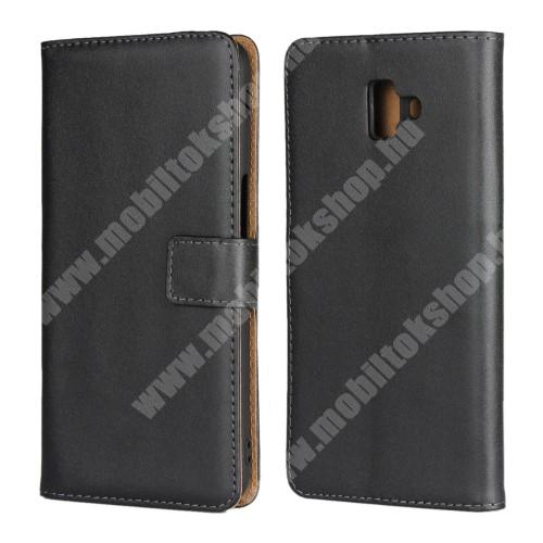 Notesz tok / flip tok - FEKETE - valódi bőr, asztali tartó funkciós, oldalra nyíló, rejtett mágneses záródás, bankkártya tartó zsebekkel, szilikon belső - SAMSUNG SM-J610F Galaxy J6+