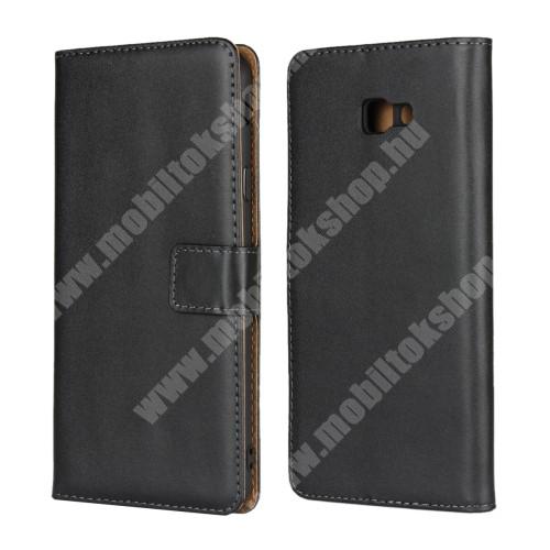 Notesz tok / flip tok - FEKETE - valódi bőr, asztali tartó funkciós, oldalra nyíló, rejtett mágneses záródás, bankkártya tartó zsebekkel, szilikon belső - SAMSUNG SM-J415F Galaxy J4+