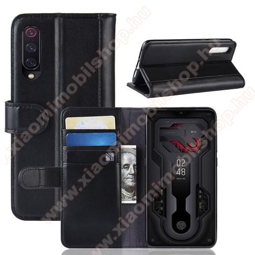 Notesz tok / flip tok - FEKETE - valódi bőr, asztali tartó funkciós, oldalra nyíló, rejtett mágneses záródás, bankkártyatartó zseb, szilikon belső - Xiaomi Mi 9 / Xiaomi Mi 9 Explorer