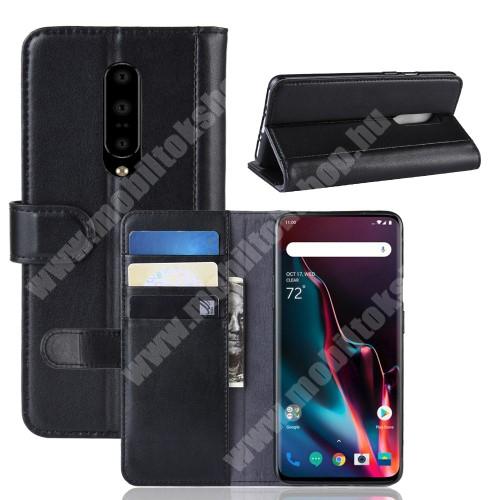 Notesz tok / flip tok - FEKETE - valódi bőr, asztali tartó funkciós, oldalra nyíló, rejtett mágneses záródás, bankkártya tartó zsebekkel, szilikon belső - OnePlus 7 Pro