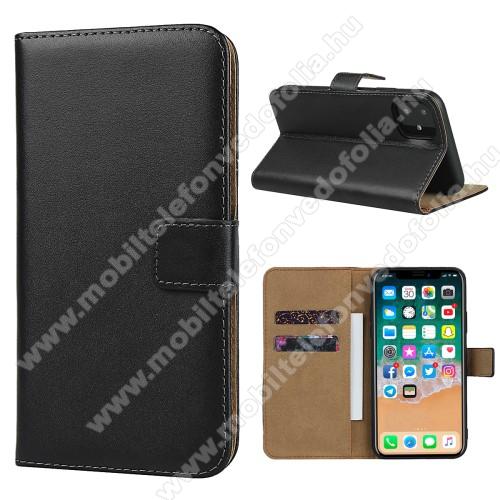 Notesz tok / flip tok - FEKETE - valódi bőr, asztali tartó funkciós, oldalra nyíló, rejtett mágneses záródás, bankkártyatartó zseb, szilikon belső - APPLE iPhone 11 Pro