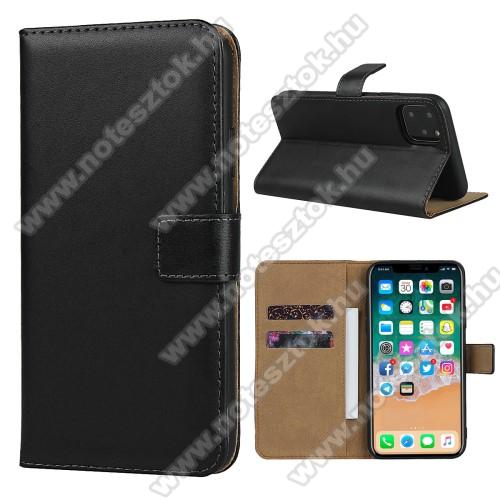 Notesz tok / flip tok - FEKETE - valódi bőr, asztali tartó funkciós, oldalra nyíló, rejtett mágneses záródás, bankkártyatartó zseb, szilikon belső - APPLE iPhone 11 Pro Max