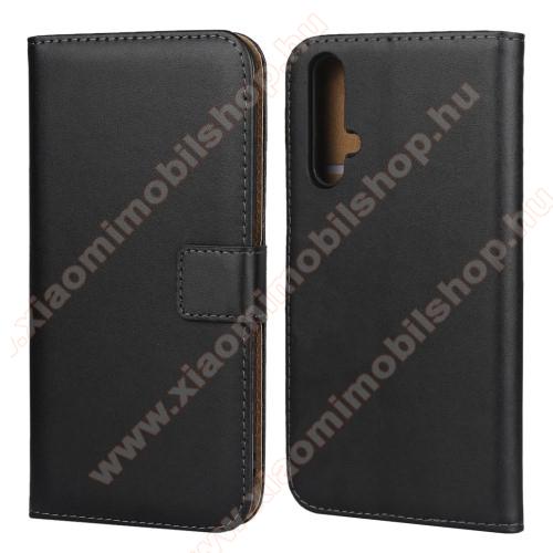 Notesz tok / flip tok - FEKETE - valódi bőr, asztali tartó funkciós, oldalra nyíló, rejtett mágneses záródás, bankkártya tartó zsebekkel - HUAWEI Honor 20 / HUAWEI Honor 20S / HUAWEI nova 5T