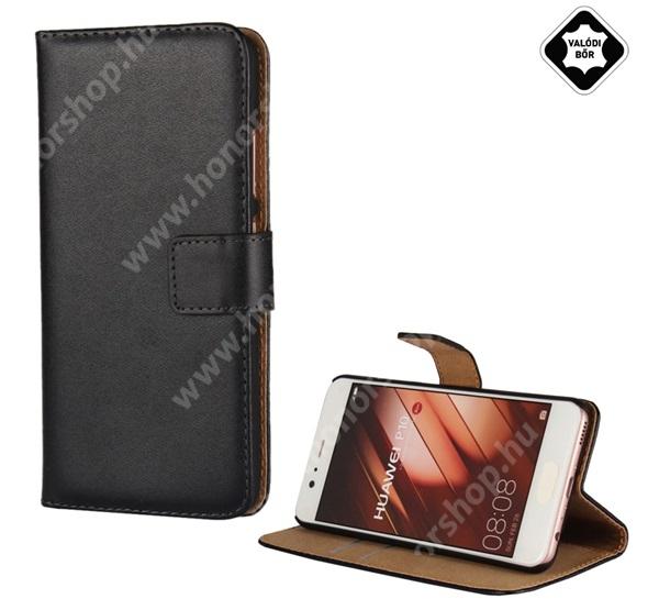 Notesz tok / flip tok - FEKETE - valódi bőr, asztali tartó funkciós, oldalra nyíló, rejtett mágneses záródás, bankkártyatartó zseb, műanyag belső - HUAWEI P10