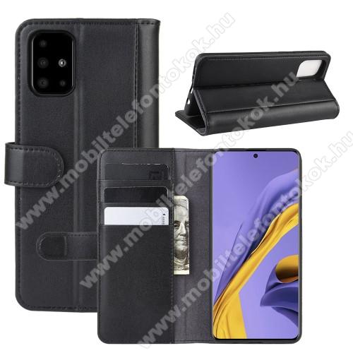 Notesz tok / flip tok - FEKETE - valódi bőr, asztali tartó funkciós, oldalra nyíló, rejtett mágneses záródás, bankkártyatartó zseb, szilikon belső - SAMSUNG Galaxy A51 (SM-A515F)