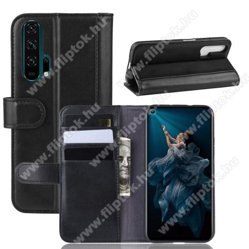 Notesz tok / flip tok - FEKETE - valódi bőr, asztali tartó funkciós, oldalra nyíló, rejtett mágneses záródás, bankkártyatartó zseb, szilikon belső - HUAWEI Honor 20 Pro