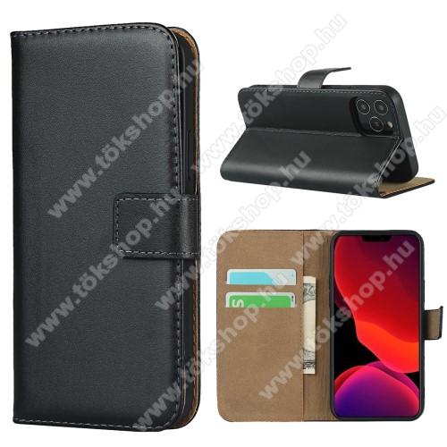 Notesz tok / flip tok - FEKETE - valódi bőr, asztali tartó funkciós, oldalra nyíló, rejtett mágneses záródás, bankkártyatartó zseb, szilikon belső - APPLE iPhone 12 mini
