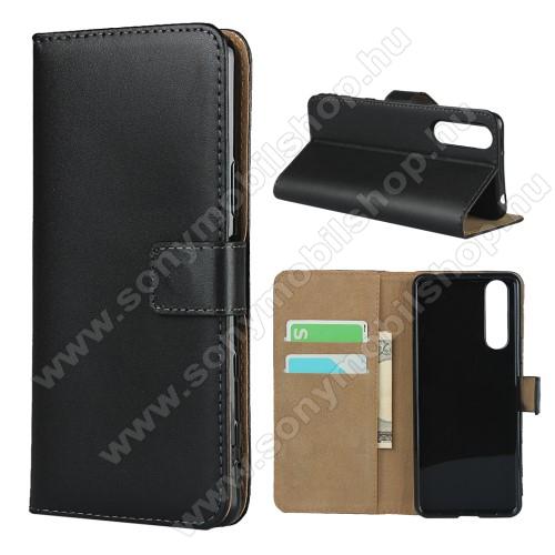 Notesz tok / flip tok - FEKETE - valódi bőr, asztali tartó funkciós, oldalra nyíló, rejtett mágneses záródás, bankkártyatartó zseb, szilikon belső - SONY Xperia 5 II (2020)