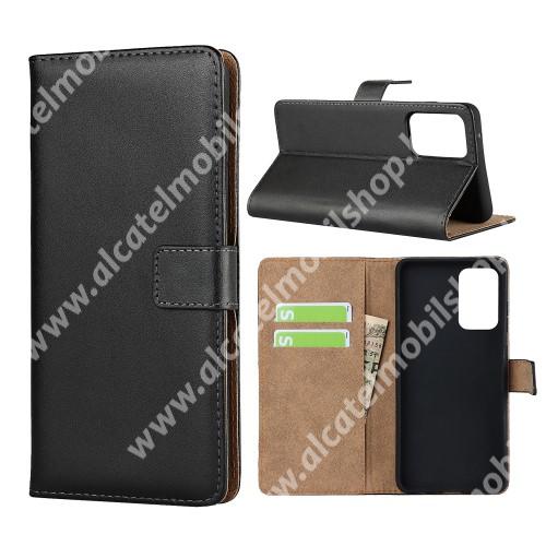 Notesz tok / flip tok - FEKETE - valódi bőr, asztali tartó funkciós, oldalra nyíló, rejtett mágneses záródás, bankkártyatartó zseb, szilikon belső - SAMSUNG Galaxy A72 5G (SM-A726F) / Galaxy A72 4G (SM-A725F)