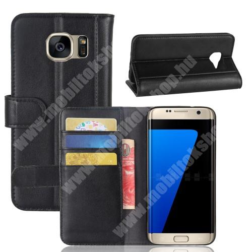 Notesz tok / flip tok - FEKETE - valódi bőr, asztali tartó funkciós, oldalra nyíló, rejtett mágneses záródás, bankkártya tartó zsebekkel, szilikon belső - SAMSUNG SM-G935 Galaxy S7 Edge