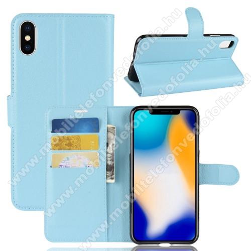 Notesz tok / flip tok - KÉK - asztali tartó funkciós, oldalra nyíló, rejtett mágneses záródás, bankkártyatartó zseb, szilikon belső - APPLE iPhone XS Max