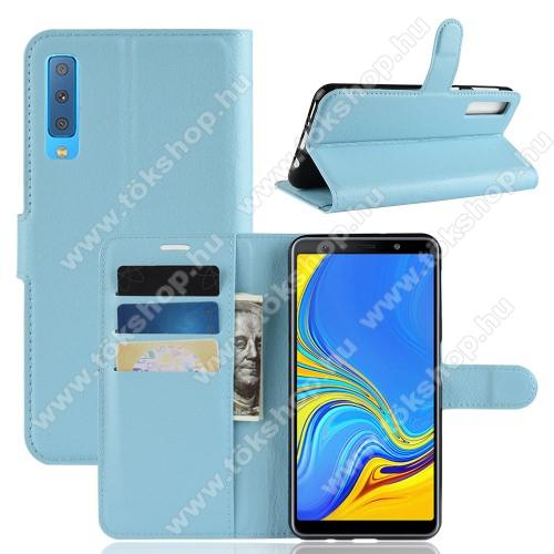 Notesz tok / flip tok - KÉK - asztali tartó funkciós, oldalra nyíló, rejtett mágneses záródás, bankkártyatartó zseb, szilikon belső - SAMSUNG SM-A750F Galaxy A7 (2018)