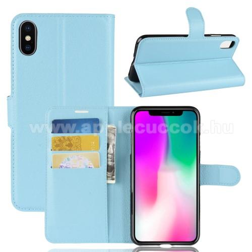 Notesz tok / flip tok - KÉK - asztali tartó funkciós, oldalra nyíló, rejtett mágneses záródás, bankkártyatartó zseb, szilikon belső - APPLE iPhone Xr