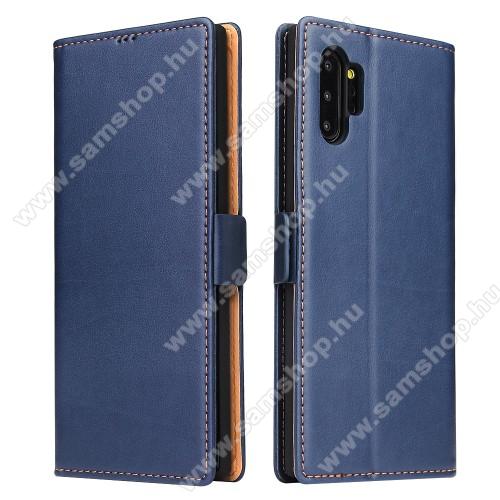 Notesz tok / flip tok - KÉK - asztali tartó funkciós, oldalra nyíló, rejtett mágneses záródás, bankkártyatartó zseb, szilikon belső - SAMSUNG Galaxy Note10 Plus (SM-N975F) / SAMSUNG Galaxy Note10 Plus 5G (SM-N976F)