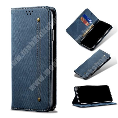 Notesz tok / flip tok - KÉK - farmer mintás, asztali tartó funkciós, oldalra nyíló, rejtett mágneses záródás, bankkártya tartó zsebekkel, szilikon belső - Xiaomi Redmi Note 8 Pro