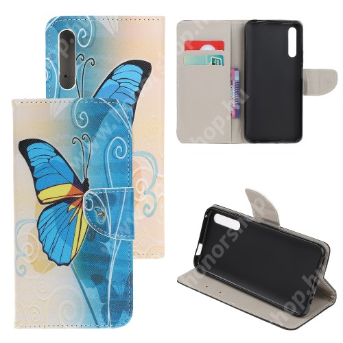 HUAWEI Honor 9X (For China market)Notesz tok / flip tok - KÉK PILLANGÓ MINTÁS - asztali tartó funkciós, oldalra nyíló, rejtett mágneses záródás, bankkártyatartó zseb, szilikon belső - HUAWEI P smart Pro (2019) / HUAWEI Y9s / Honor 9X (For China market) / Honor 9X Pro (For China)